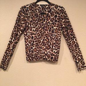 J. Crew 100% Merino Wool Leopard Print Cardigan, M